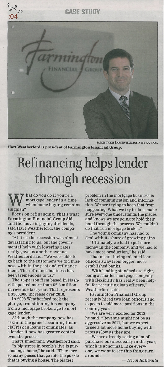 "020312 NBJ ""Refinancing helps lender through recession"""