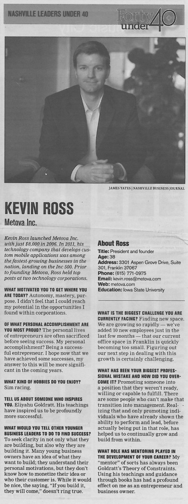"120712 Nashville Business Journal ""Forty Under 40:Kevin Ross"""
