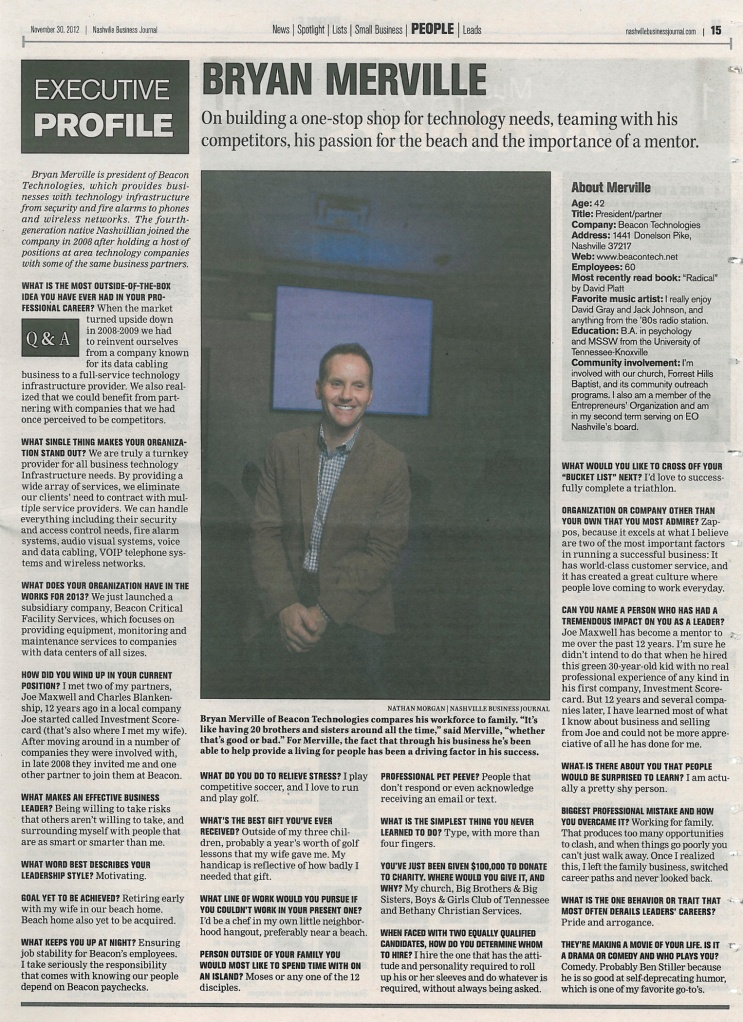 Bryan Merville's Executive Profile in the Nashville Business Journal