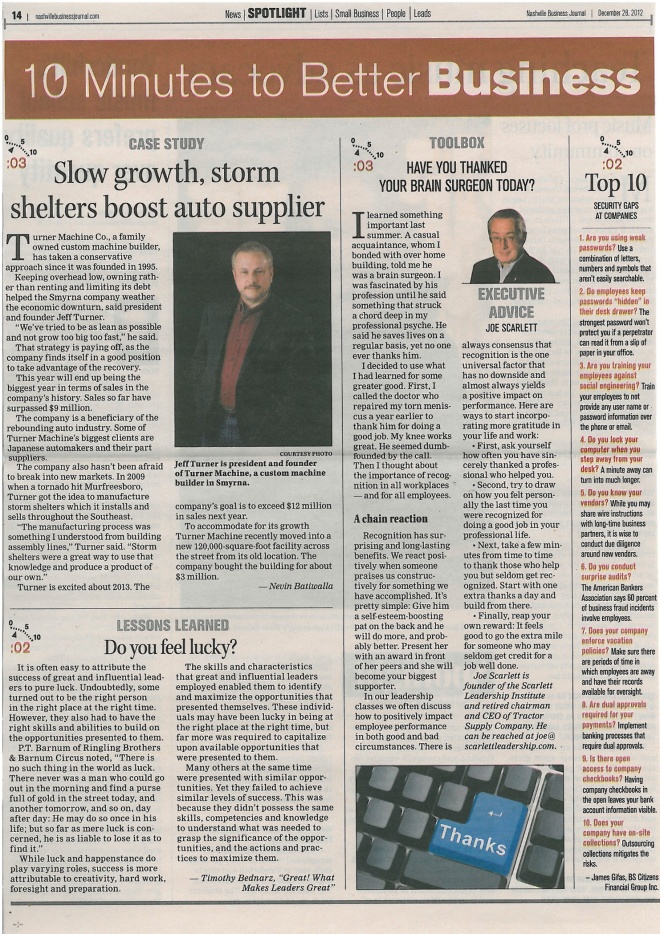 """""""Case Study - Slow growth, storm shelters boost austo supplier"""""""