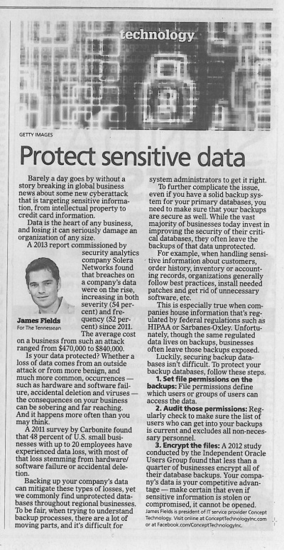 Protect sensitive data James Fields