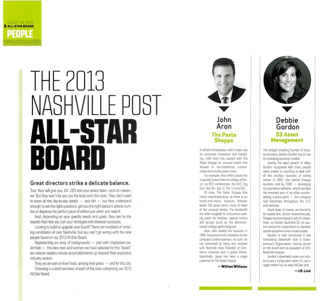 2013 Nashville Post All Star Board