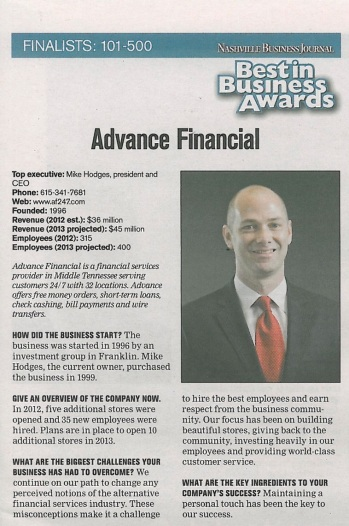 Best in business-advance financial