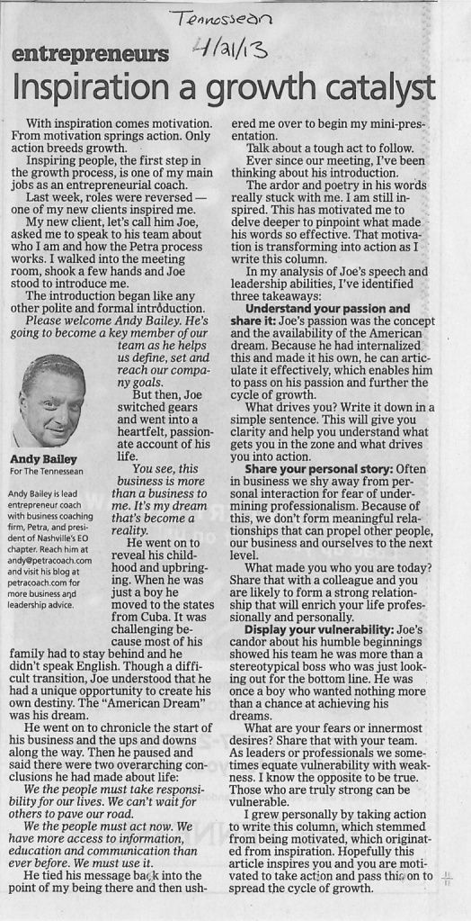 Tennessean 4-21-13 Inspiration growth catalyst