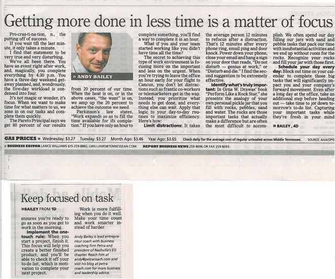 050213 Tennessean Getting more done in less time is a matter of focus