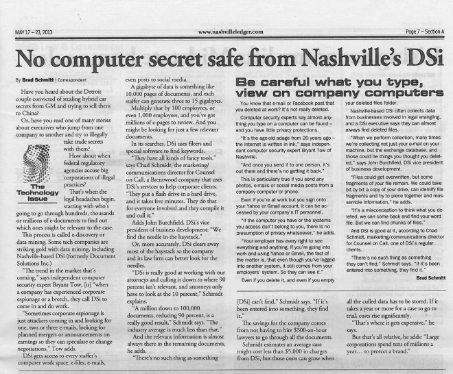 051713 Nashville Business Journal - DSi articles