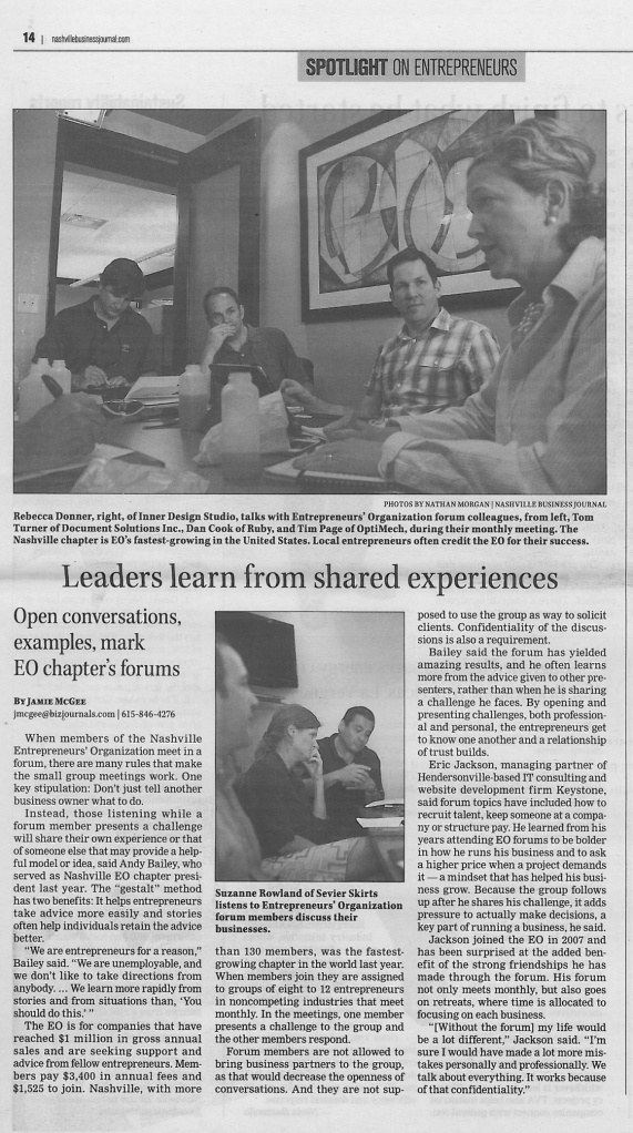 051713 Nashville Business Journal Leaders learn from shared experiences