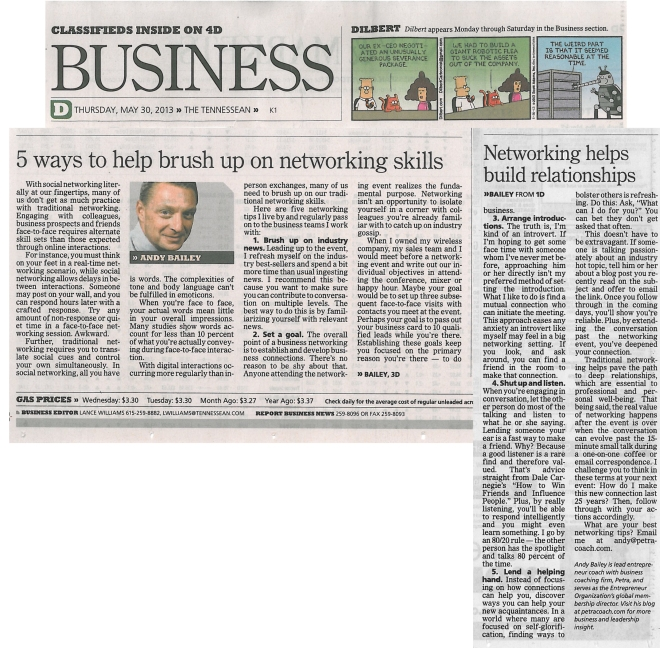 053013 Tennessean 5 ways to help brush up on networking skills