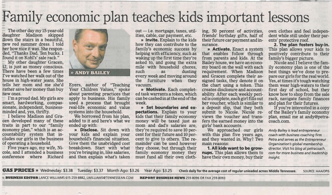 061313 Tennessean Family economic plan teaches kids important lessons