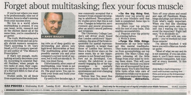 080813 Tennessean focus not multitask tennessean hard 080813