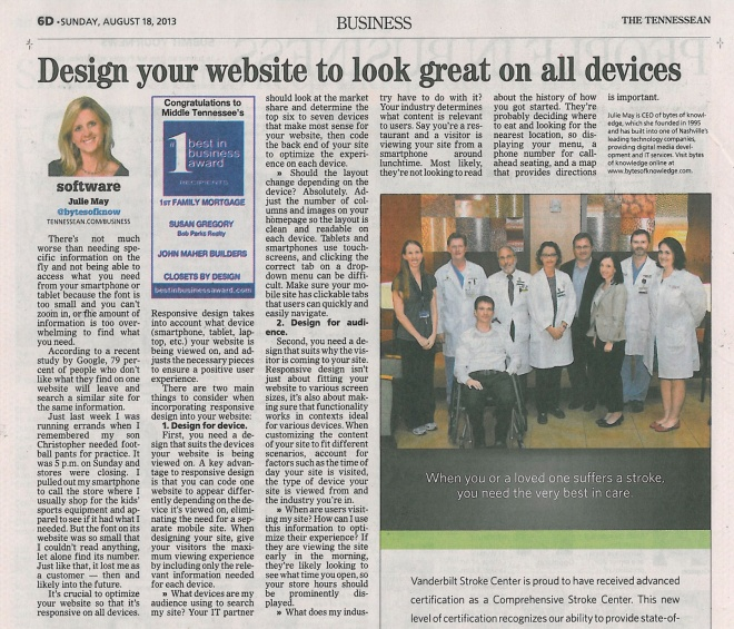 081813 Tennessean Design your website to look great on all devices