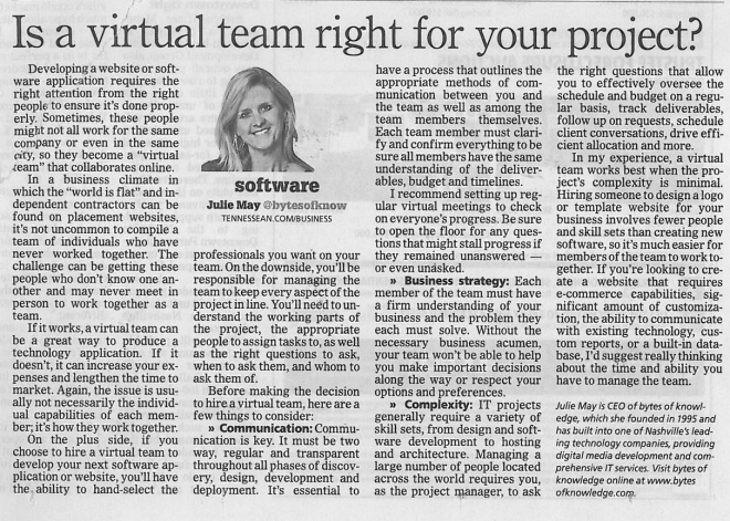 090113 Tennessean Is a virtual team right for your project?